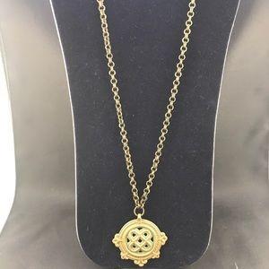 Vintage brass Celtic knot pendant necklace